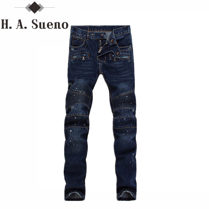 Mens Biker Jeans Men Fashion dark blue Cotton Denim Jeans Men Slim Washed Men's Jeans Pants Skinny Jeans Men trousers Homme men s cowboy jeans fashion blue jeans pant men plus sizes regular slim fit denim jean pants male high quality brand jeans