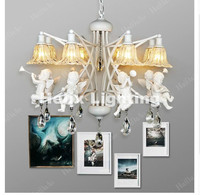 Free Shipping Newly European Modern Nordic Style Creative Brief Restaurant Lights Angel Violin Personalized Crystal Pendant Lamp