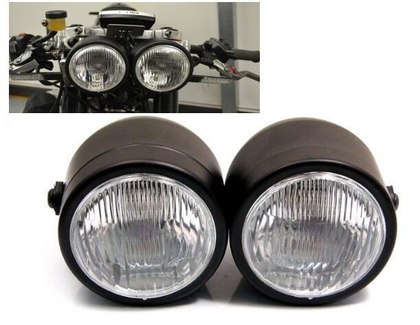 Twin Headlight Motorcycle Double Dual Lamp Motocross Streetbike Dominator New For Harley Honda Yamaha Kawasaki