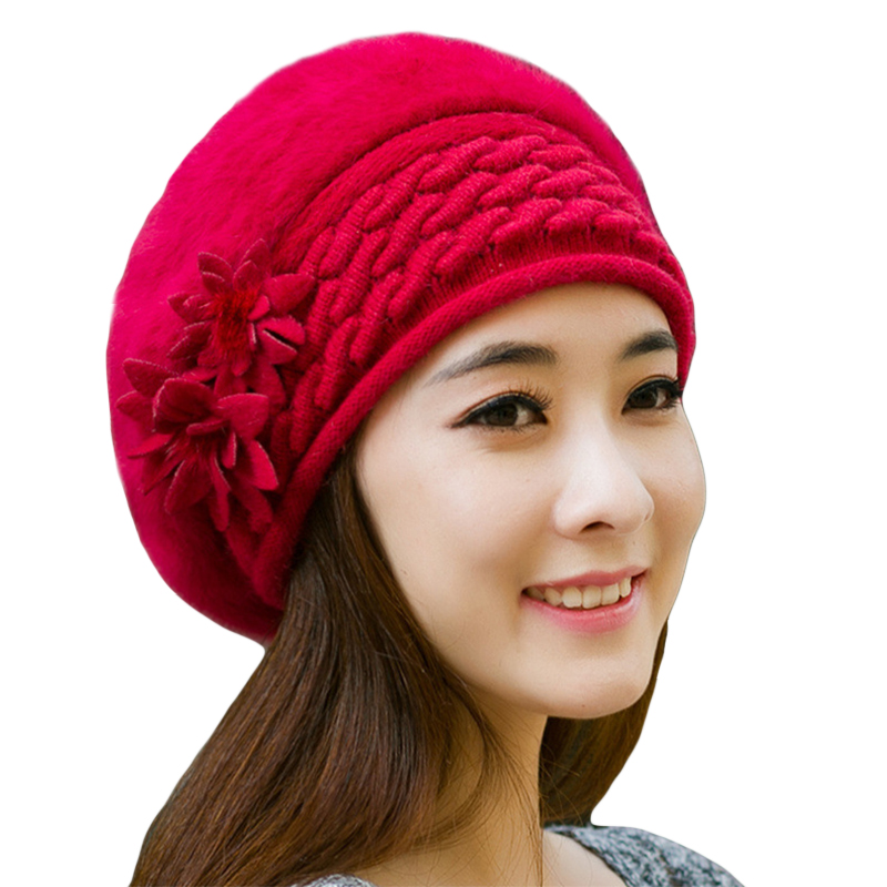 Warm Winter Hats for Women Wool Knitted Beret Beanies Female Caps Faux Rabbit Fur Braided Hats Gorros Cap Bonnet Femme knitted winter warm female hat rabbit fur beanie cap woman chunky baggy cap skull gorros de lana mujer bonnet femme beanies cap