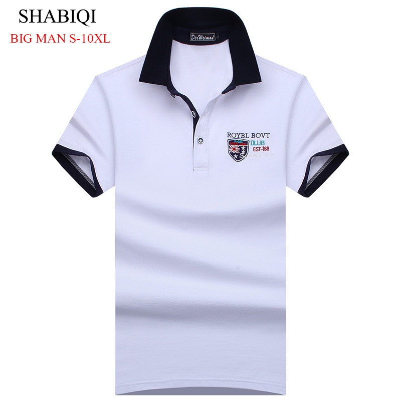 SHABIQI Plus Size S-10XL England Style Men Polo Shirt Summer Short Sleeve Polos Shirt Mens Camisa Polo 95% Mercerized Cotton
