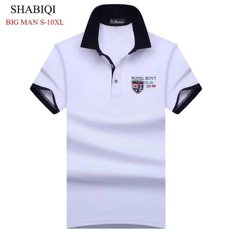 SHABIQI Plus Size S-10XL England Style Men Polo Shirt Summer Short Sleeve Polos Shirt Mens Camisa Polo 95% Mercerized Cotton