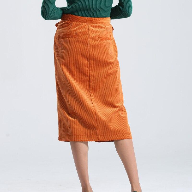 82f08481ce2 Winter Corduroy Skirt Women Zipper Knee Length Padded Ladies Straight Skirts  Solid Front Slit Pockets Elegant Pencil Skirt Lady -in Skirts from Women s  ...