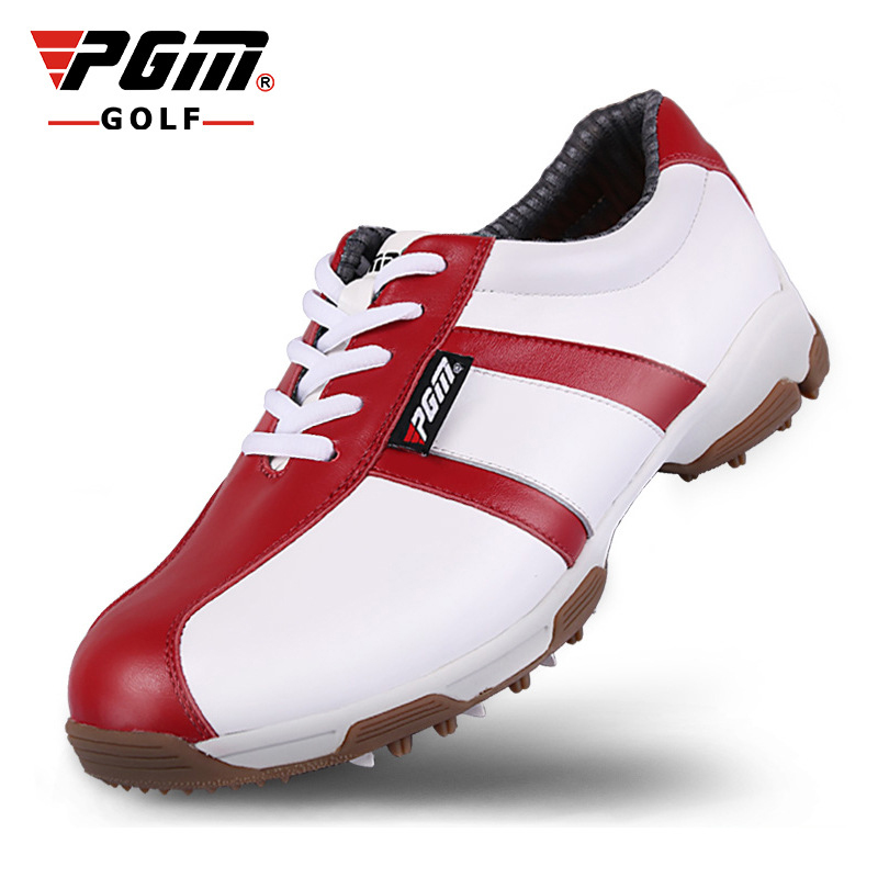PGM Women Golf Shoes Genuine Leather Waterproof Sneakers Outdoor Sport Shoes Professional Woman Golf Shoes Lady Golf Footwear pgm genuine golf standard durable bag waterproof lady golf capacity standard ball bag embroidered package contain full set club