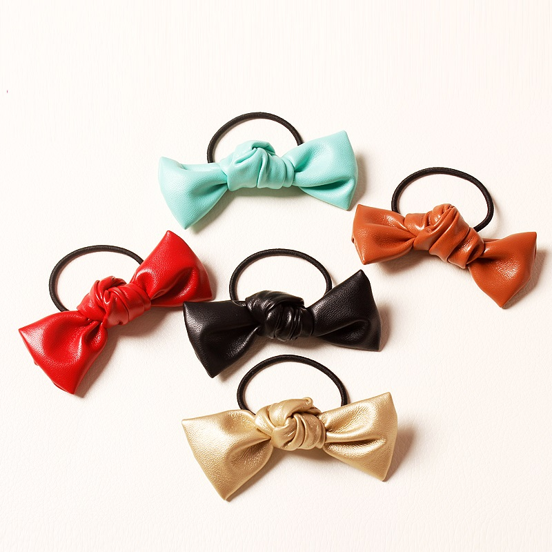 Artificial Leather Bow Knot Elastic Hairband Red Gold Green Black Brown Mini Ponytail Hair Rope Faux Leather Hair Ring Sophisticated Technologies Accessories