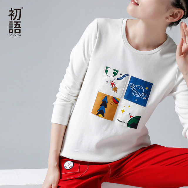 Toyouth Autumn Winter T-Shirts Women New Print O-Neck Base Tees Casual White All Match Tops
