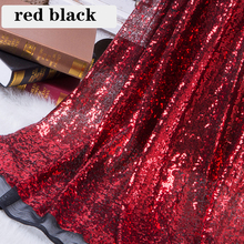 цена B·Y Red Black sequin fabric for dress by the yard 92x125cm Sequin Fabric for Clothes Stage Party Wedding Christmas Home Decor в интернет-магазинах