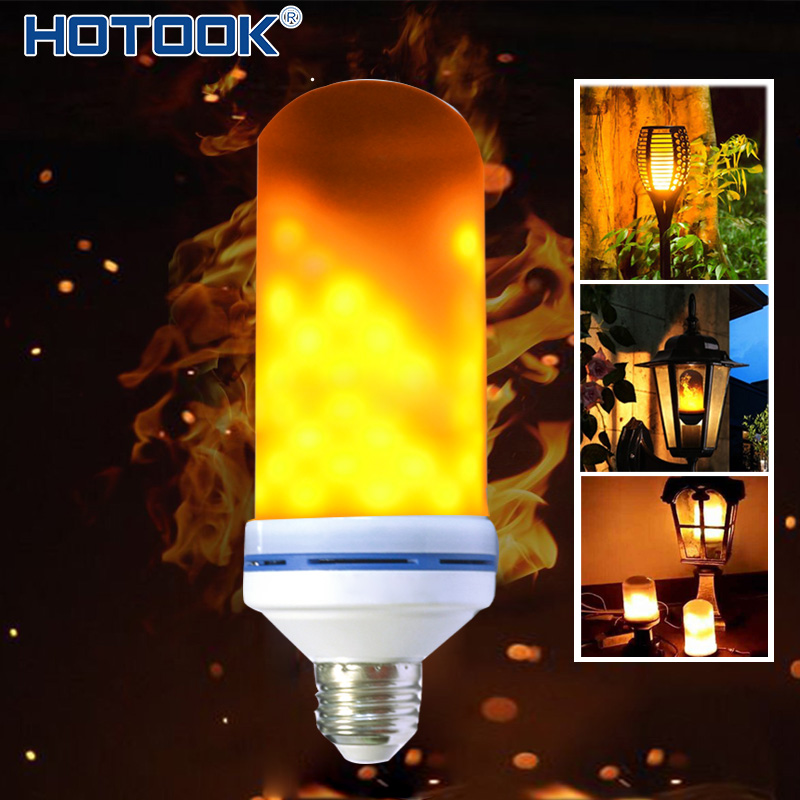 HOTOOK LED Bulbs E27 E26 Flame Lamps Lampada 5W 110V 220V Flickering Simulation Effect Fire Light Vintage Atmosphere led ampoule