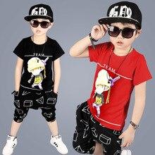 2017 Summer Children Clothing Sets Boy Shorts Cartoon Suit Short Sleeve T-shirt Pants Costume Boys Sports Suit 2PCS YL578