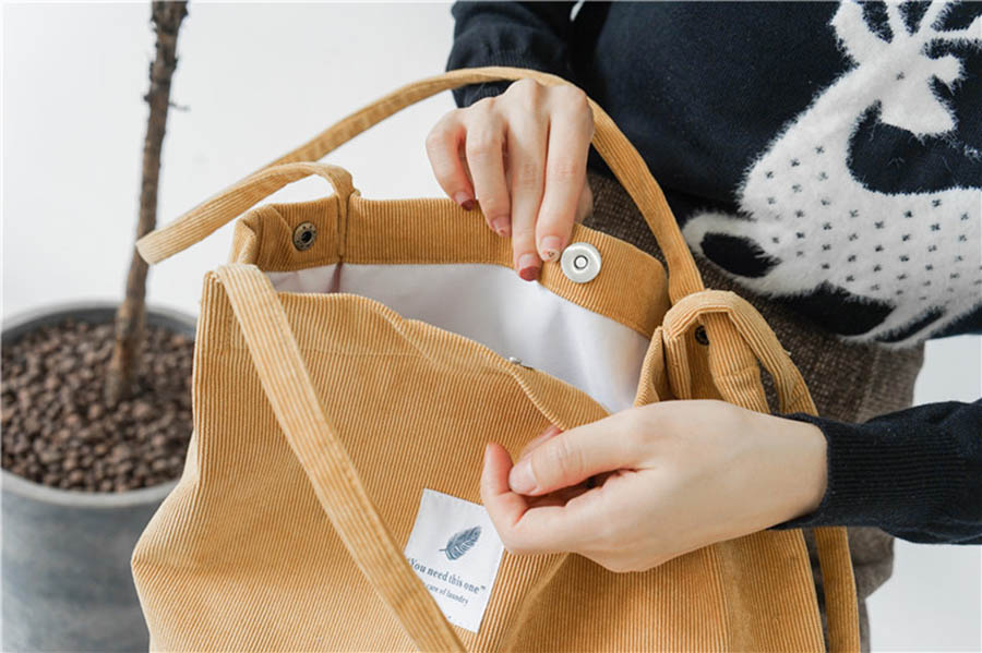 Mara's Dream High Capacity Women Corduroy Tote Ladies Casual Solid Color Shoulder Bag Foldable Reusable Women Shopping Beach Bag 18