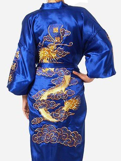 Novo azul homens chineses de cetim de poliéster bordado Robe Kimono vestido dragão sml XL XXL XXXL frete grátis S0009