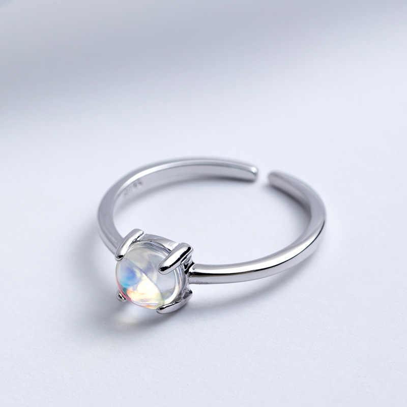 925 เงินแท้มูนสโตนธรรมชาติเปิดแหวนหญิงเกาหลีสไตล์แต่ละแหวนเครื่องประดับ