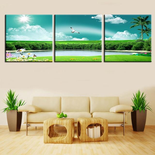 Без рамы картина маслом Пейзаж Современная холст картины настенные панно squre сельские пейзажи украшения дома Модульная картина 3 шт.