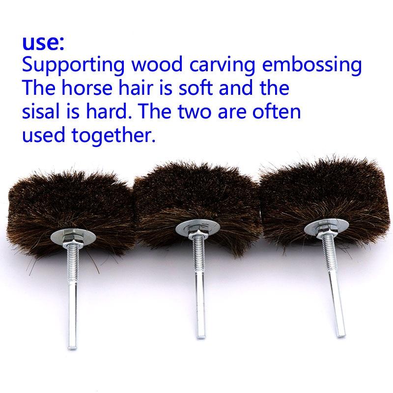 1Pcs 3 Inch Plastic Core Horse Hair Polishing Wheel Wood Carving Polished Brush