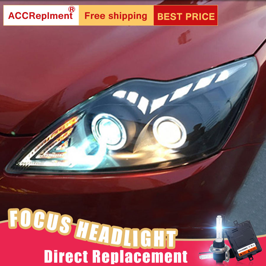 2Pcs LED Headlights For Ford FOCUS 2009 2014 led car lights Angel eyes xenon HID KIT