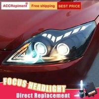 2 шт. светодиодный фары для Ford FOCUS 2009 2014 светодиодный Автомобильные фары ангельские глазки комплект ксеноновых фар, Высокопрочная конструкц