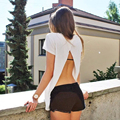 Brand Design Loose Backless T shirts Women Tops Casual Tees