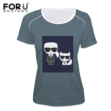FORUDESIGNS Karl Lagerfelds Printing Summer T Shirt Elastic Woman Tops Customize Image T-shirt For Girls Female Tees Clothes