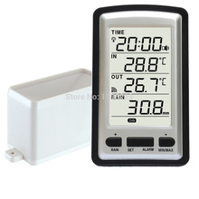 Buy wireless rain meter rain gauge w/ thermometer, Weather Station for indoor/outdoor temperature, temperature recorder