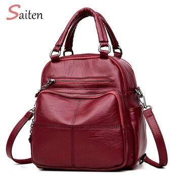71bf6f1a9945 2018New Модный женский рюкзак кожаные Брендовые женские рюкзаки высокого  качественный школьный рюкзак элегантный Mochilas женская сумка