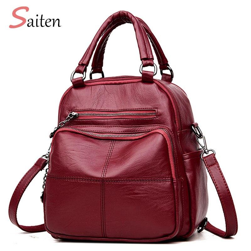 2018new Fashion Woman Backpack Leather Brands Female Backpacks High Quality Schoolbag Backpack Elegant Mochilas Escolar Feminina