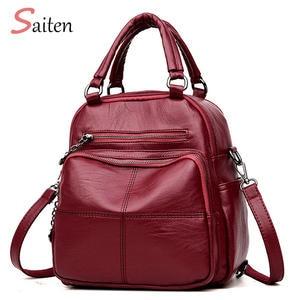 d01da7d7b9 SAITEN Woman Leather Female Schoolbag Backpack Feminina