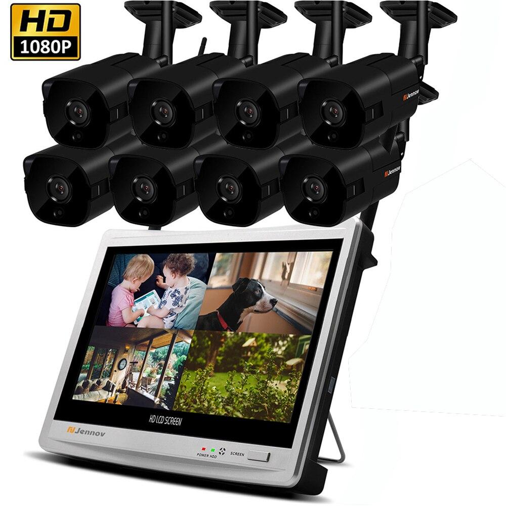 2MP 8CH 1080 p NVR Kit de Vigilância de Vídeo Sistema de Câmera de Segurança IP Sem Fio Com 12 polegada Monitor LCD CCTV Conjunto ao ar livre Casa ipCam