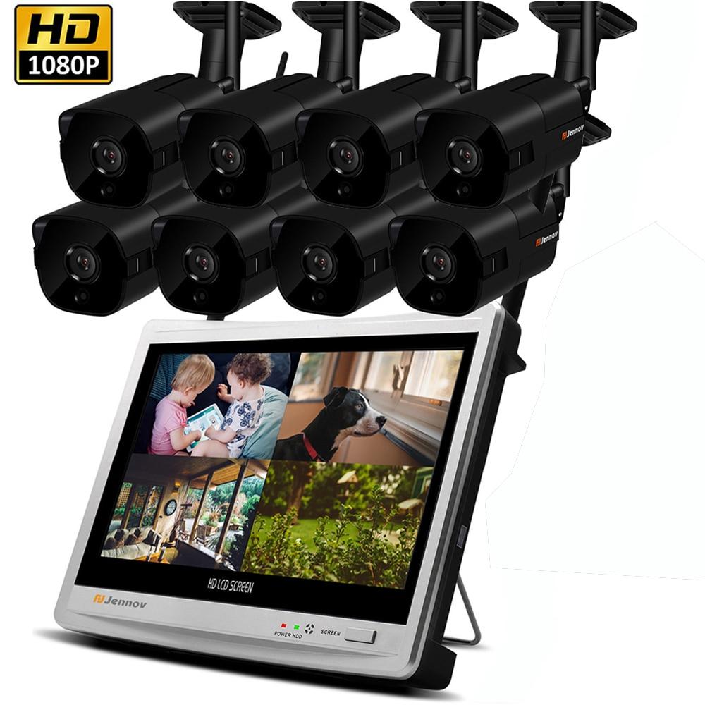 8CH 1080 p 2MP seguridad sistema de cámara IP Kit de vigilancia de vídeo inalámbrico NVR con 12 pulgadas LCD Monitor CCTV Set hogar al aire libre cámara IP