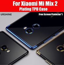 for Xiaomi Mi MIX2 Case Cover Metal Plating Armor Transparent for Xiaomi Mi Mix 2 Case Silicon TPU Luxury Fashion Cover URSHINE