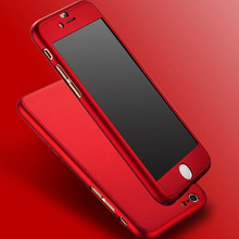 2016 New Hybrid 360 Case Hard Ultra thin Capa Cover For fundas iPhone 6 6S Plus 7 7 Plus Phone Case + Tempered Glass
