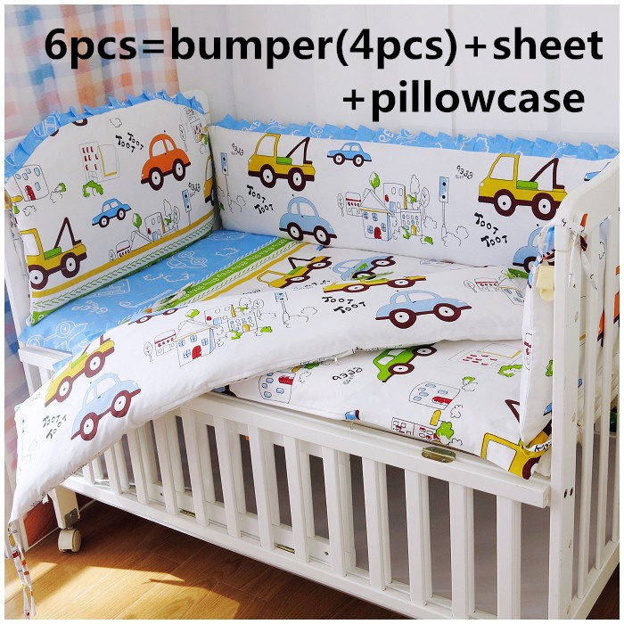2017! 6PCS Baby Set Cartoon Car Boy Baby Cot Crib Bedding Set Cot Bumpers Bedding For Infant (4bumpers+sheet+pillow Cover)