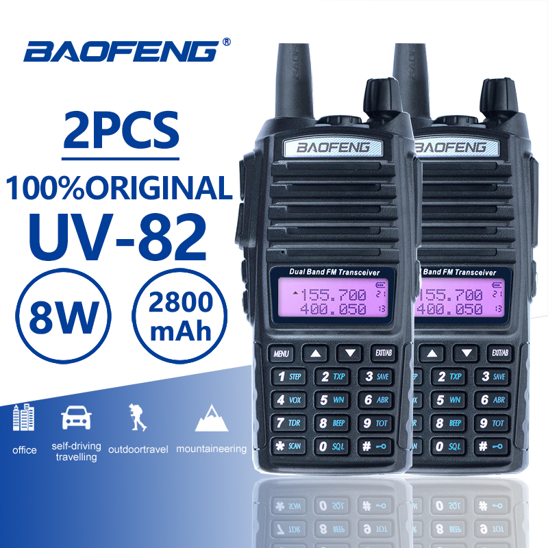 2 stücke Baofeng UV-82 Long Range Walkie Talkie 10 km Dual PTT Tragbare UV 82 Zwei Weg Radio FM Radio schinken Hf Transceiver UV82 CB Radio