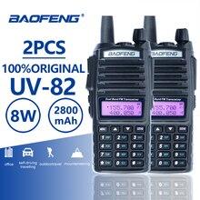 2 шт. Baofeng UV-82 Long Range двухканальные рации 10 км двойной PTT портативный UV 82 двухстороннее радио FM Ham КВ трансивер UV82 CB радио