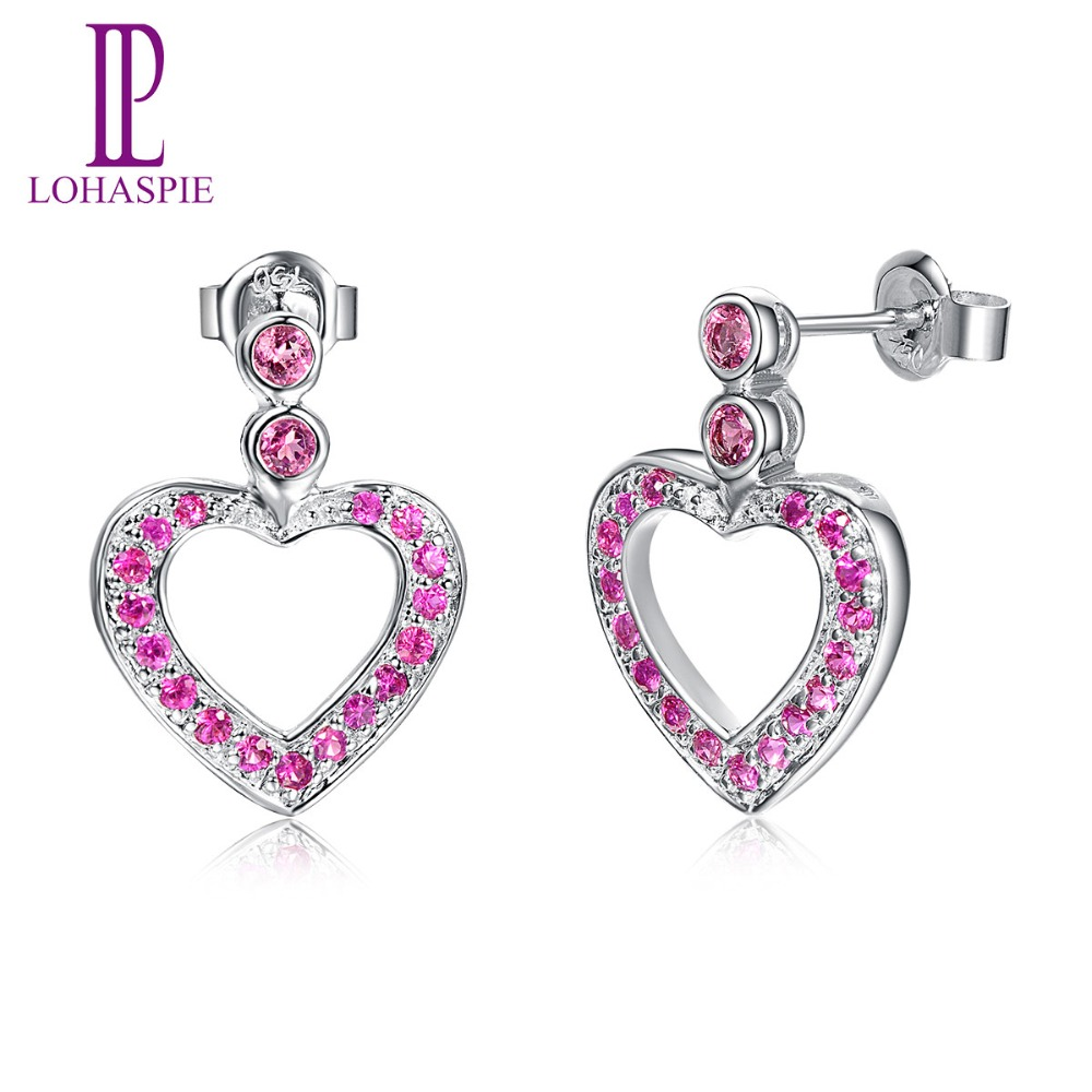 Lohaspie Solid 18k 750 White Gold Natural Pink Tourmaline & Ruby Heart Stud Earrings Classic Fine Jewelry for Women's Collection
