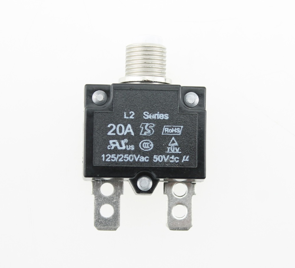20Amp Circuit Breakers with manual reset DC50V AC125 250V with Quick ...