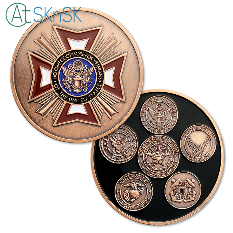 1-10pcs Newest challenge coins No one do more for veterans badge red bronzed medal United States military challenge coins gifts