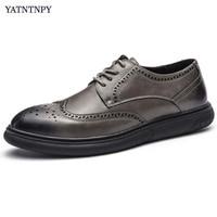 YATNTNPY New Arrival Men Shoes Classic Brogue Shoes Man Casual Sneakers Platform Leather Dress Shoes Fashion Oxfords