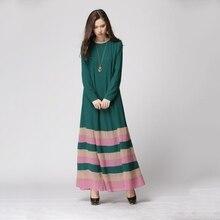 Moda Hanım Vintage Çizgili Kaftan Abaya Jilbab İslam Müslüman Uzun Kollu Maxi Elbise ZHui