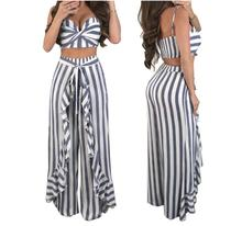 2 piece set  Women irregular striped patchwork ruffles crop top pants summer sexy beach strapless short tee wide leg pants femal недорого