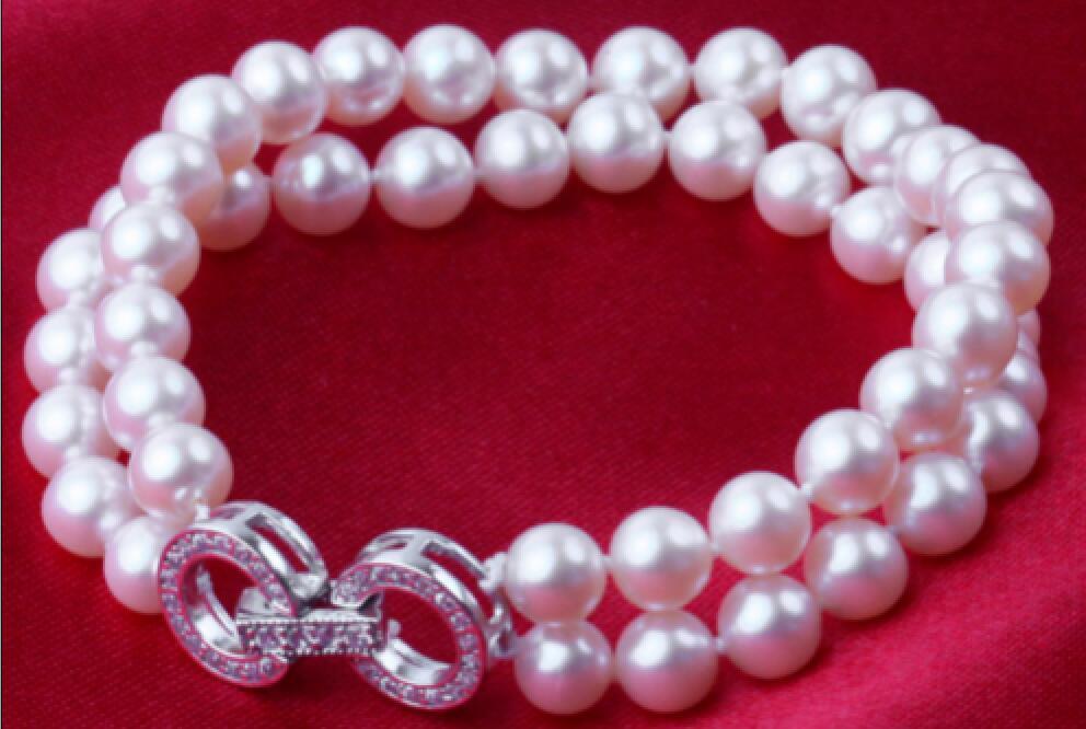 Monili di vendita>>> 2 righe AAA 10-11mm naturale del sud mare rotondo bianco perla braccialetto 7.5-8 polliceMonili di vendita>>> 2 righe AAA 10-11mm naturale del sud mare rotondo bianco perla braccialetto 7.5-8 pollice