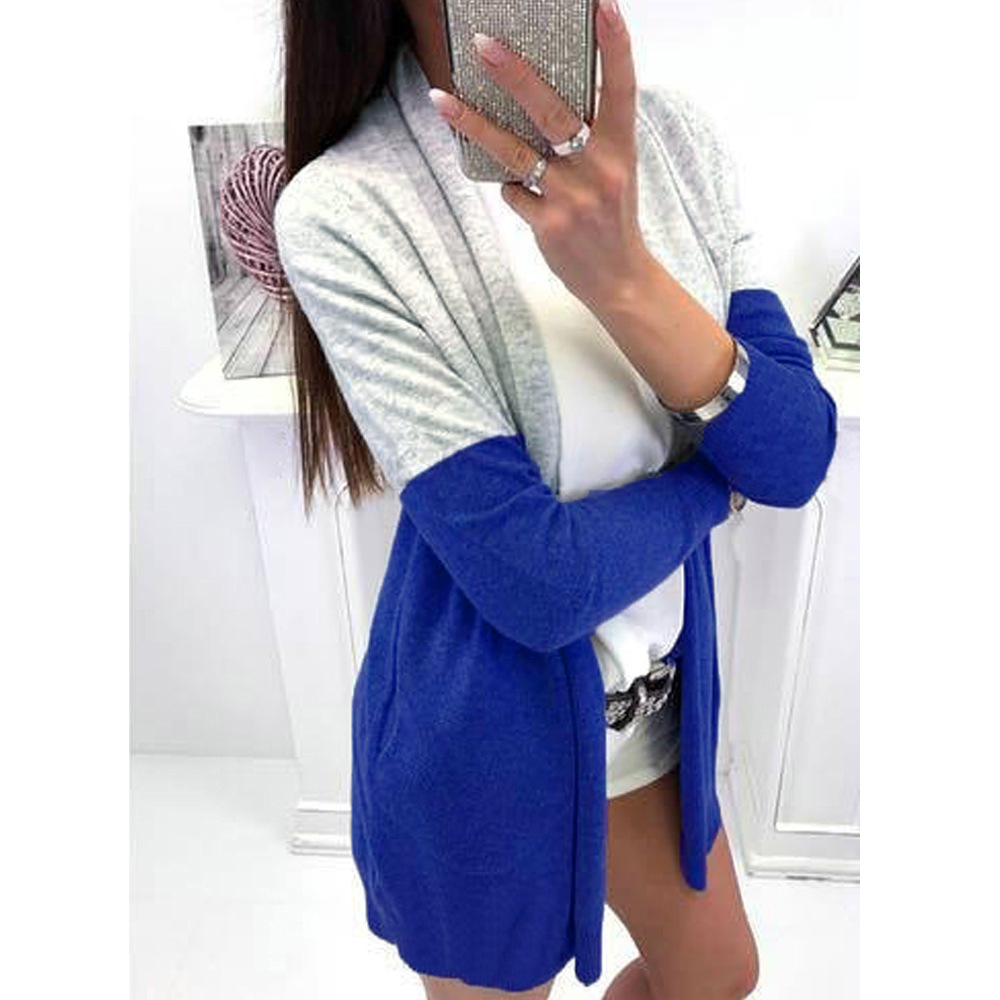 Contrast Color Cardigans Coat Sweater Women Casual Long Sleeve Open Stitch Sweater Coats Knitted Female Sweater Cape Top Outwear