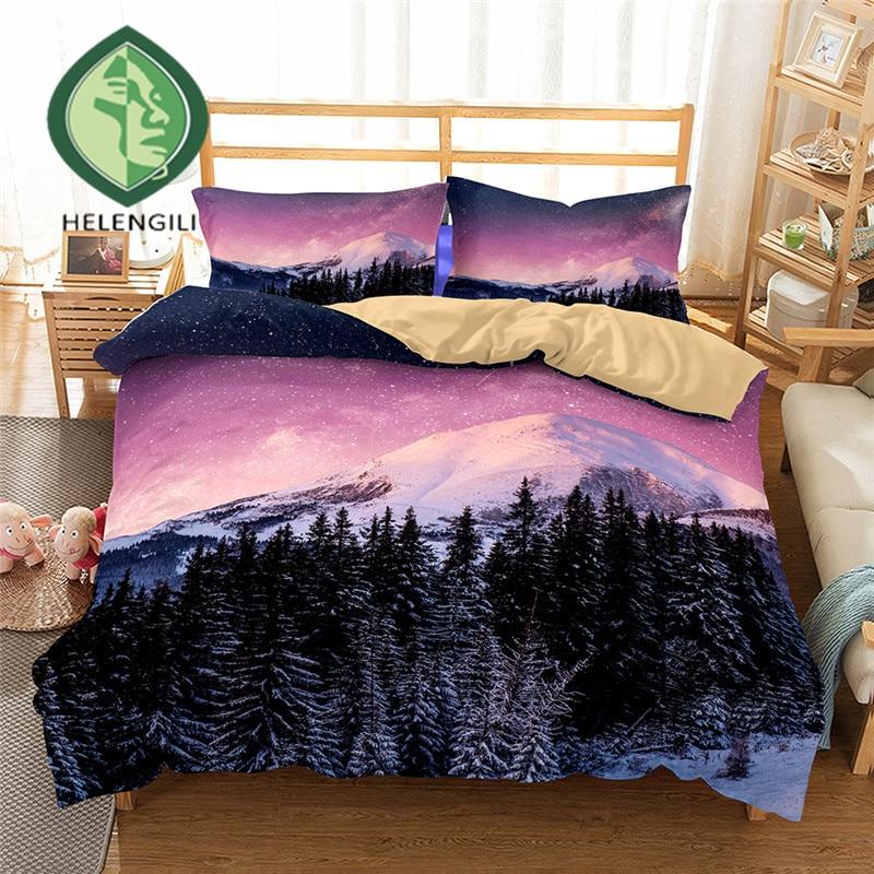 3D Bedding Set Forest Snow Scenery Print Duvet Cover Set