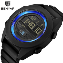 BENYAR Brand Sport Quartz Watch Men Military Waterproof Watches LED Digital Male Clock