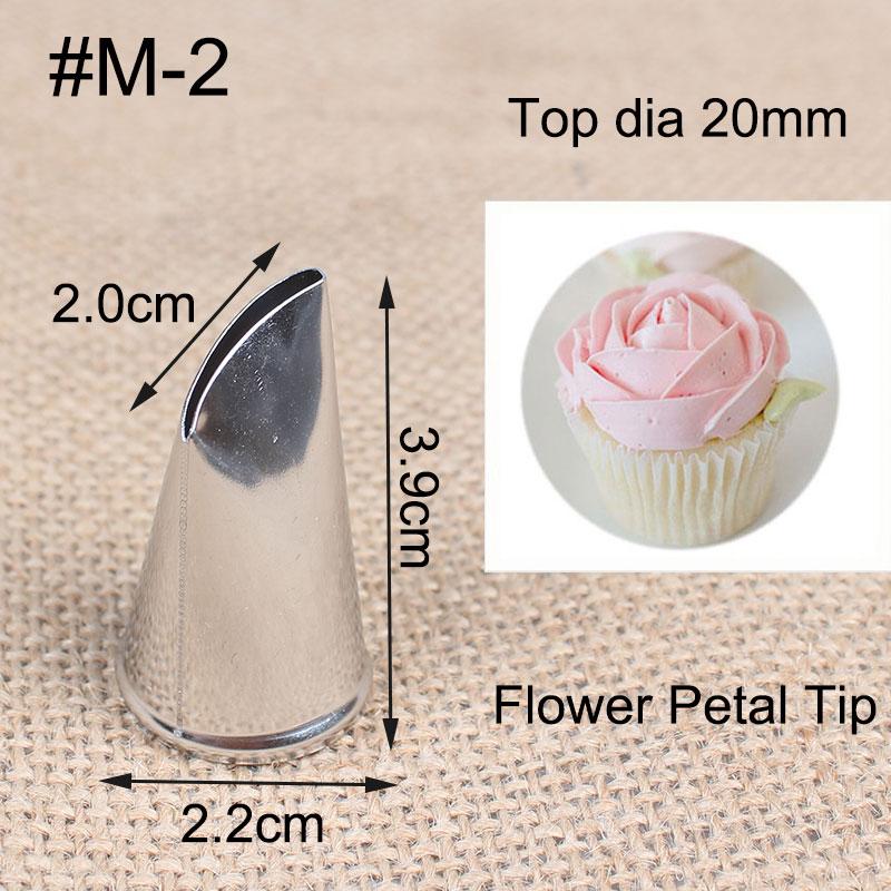 # M-2 1 штука изгиб лепесток розы металлический наконечник крема стальной Обледенение труб насадка для украшения торта крема Кондитерские ин...