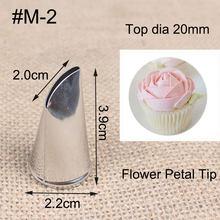 # M-2 1 Curva pedaço Pétala de Rosa Creme De Metal Ponta Ferramentas de Decoração De Pastelaria Bolo de Creme Confeiteiro Piping Bico de Aço