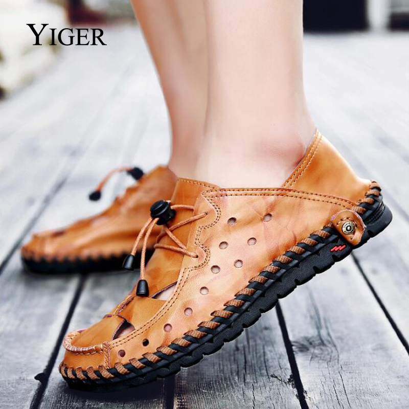 YIGER New Men Sandals Genuine Leather Man Shoes Large Size Hole shoes - Men's Shoes - Photo 3