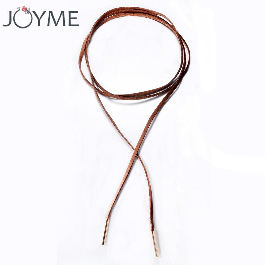 Длинное кожаное ожерелье-чокер с цепочкой для женщин, Чокеры с нагрудным воротником, бохо, Бархатный чокер черного и коричневого цвета