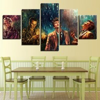 5 Panel Canvas Art Doctor Who Movie Characters Oil Painting Prints on Canvas Wall Art Picture Home Decoration for Bedroom Decal