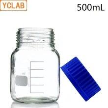 YCLAB 500mL reaktif şişesi geniş vida ağız ile mavi kapak şeffaf şeffaf cam tıbbi laboratuvar kimya ekipmanları