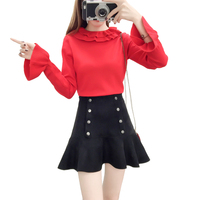 Autumn Outfit Women Pullover Knitwear Top New Skirt Fashion Suits Faux Suede Fishtail Skirt Sweater Two Piece Outfit Vestidos